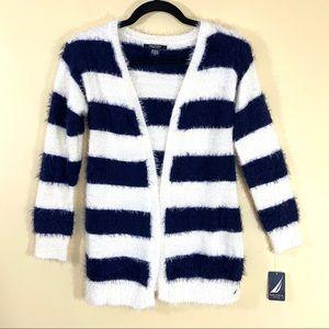 NWT Nautica Stripe Fuzz Fleece Open Front Cardigan